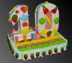 Tarta de chuches - Candy cake - Gateau de bonbons - Snoeptaart - Cyfers & Letters