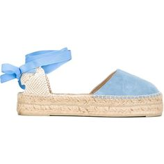 Manebi Cut-Out Heel Ankle Lace Espadrilles ($86) ❤ liked on Polyvore featuring shoes, sandals, blue, blue sandals, lace-up sandals, lace-up espadrilles, manebi espadrilles and lacy shoes