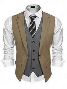 9699b83ba28fa Great for Coofandy Mens Formal Fashion Layered Vest Waistcoat Dress Vest  Mens Fashion Clothing.