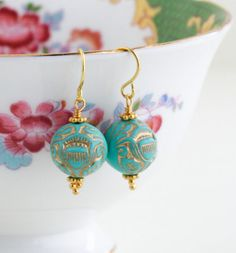 Turquoise Earrings Gold Etched Ornate Earrings by JacarandaDesigns