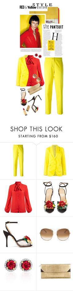 """HAPPY SUNDAY!!!"" by shortyluv718 ❤ liked on Polyvore featuring Paul Frank, Etro, Racil, Charlotte Olympia, Chloé, Belk & Co., Barbara Bui, sandals, redandyellow and pantsuitt"
