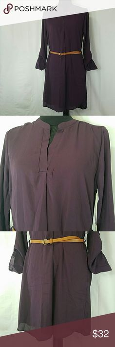 "TIMING Tunic Dress. NWT. Size M 💥NL💥 EXCELLENT CONDITION💥 Timing Dress NWT. NEVER WORN SIZE➡M COLOR➡Purple FABRIC➡100% polyester PIT TO PIT➡19"" LENGTH➡36""  Tunic style dress Long sleeve foldable to 3/4"" With belt accesorie Perfect to wear with leggings and boots No lining  Fresh to wear on hot days  🔼Check all the pictures and ask questions? 🌞PERFECT FOR ANY OCCASION  🚫NO TRADES 🚫NO MODELING 🔴REASONABLE OFFERS WELCOME ⭕CHECK MY OTHER LISTING AND BUNDLE Timing Dresses"