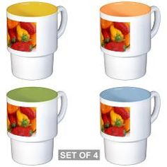 $38.39 - Bell Peppers Coffee Cups - by RGebbiePhoto @ cafepress - Colorful red yellow and orange bell peppers with sprinkles of water.