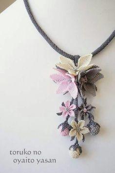 Textile Jewelry, Bead Jewellery, Beaded Jewelry, Jewelery, Handmade Jewelry, Beaded Necklace, Crochet Bookmark Pattern, Crochet Flower Patterns, Crochet Flowers