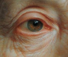 """Christian Seybold  """"Portrait of an Old Woman with a Green Scarf"""" (eye detail) 1768.  41.5 X 32.5 cm  oil on copper"""