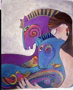 The official website of Laurel Burch Artworks and the artist Laurel Burch. Laurel Burch, Party Fiesta, Naive Art, Equine Art, Horse Art, Whimsical Art, Art Plastique, Cat Art, Art Lessons