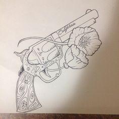 #gun #guntattoo #gunandpoppy #revolver #californiapoppy #california #poppy…