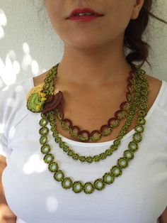Green beaded crochet lace necklace - statement necklace with emerald green seed beads and crocheted cotton lace-crochet jewelry-