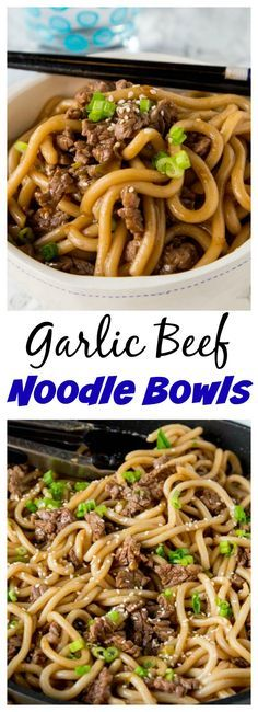 Garlic Beef Noodle Bowls – an Asian style noodle bowl with lots of garlic, that is ready in just minutes! Great for busy nights.