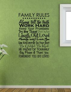 Family Rules  Vinyl Wall Decal FAM16 by VisionsInVinyl on Etsy, $30.00