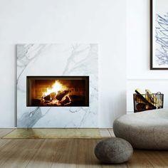 Perfect minimalism-Marble fireplace surround @Matty Chuah Diversion Project