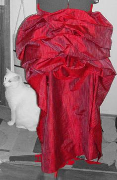 how to make a bustle skirt from a window panel and shower curtain rings