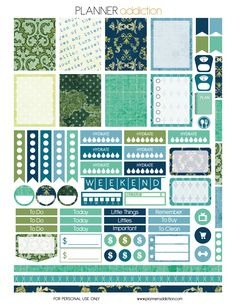 Another freebie today! Blue and Green damask. Description: The sheet of this printable planner stickers size is x inches 1 ZIP file containing 1 JPG file, 1 PDF file & 1 Silhouette cut Más To Do Planner, Planner Layout, Free Planner, Erin Condren Life Planner, Blog Planner, Planner Pages, Happy Planner, 2015 Planner, Scrapbooking Agenda