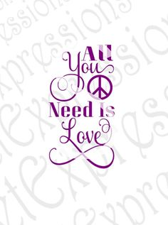 All You Need Is Love Digital File. Use this file with your Cricut Explore or Silhouette Cameo to create a wood sign stencil or vinyl decal. JPG file is great for making framed clip art.  Files Compatible With ~ SVG for Cricut Design Space SVG for Silhouette Studio Designer DXF for Silhouette Studio JPEG JPG - Clip Art for Printing  *****BE SURE TO CHECK OUR ETSY STORE BANNER AND ANNOUNCEMENTS FOR OUR CURRENT OFFER OR COUPON CODE*****  *******You will not receive a physical copy of this…