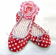 4 Vintage Table Paper Napkins for Decoupage Lunch Decopatch Ballerina Shoes