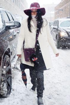 We spy Shiona Turini under that chic white coat.  #NYFW