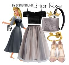 """Briar Rose"" by leslieakay ❤ liked on Polyvore featuring La Regale, Chicwish, Alex Monroe, Semilla, Prom, disney, disneybound and disneycharacter"