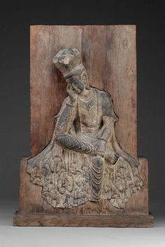Buddhist figure seated in Pensive Pose.  Chinese; Northern Wei dynasty early 6th century A.D.  Luoyang, Henan Province, China. | Museum of Fine Arts Boston