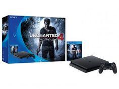 Playstation 4 Slim 500GB Sony 1 Controle - com Jogo Uncharted 4: A Thiefs End