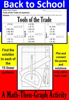 Make going Back to School fun with this coordinate graphing activity. In this activity students practice solving systems of linear equations and plotting points. Students solve 15 different systems of equations to complete the list of coordinate points. Then students plot the points, connecting as they go, but only within the designated zones. When they are done, they will have a picture of a ruler, protractor, compass, pencil and sheet of paper: the Tools of the Trade.