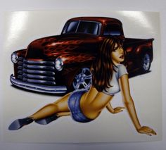 hot rod drawings and hot girls | Details about Retro Pin Up Girl Hot Rod Tool Box Decal Sticker