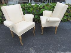 Pair Of 1940's Modern Wing Back Lounge Chairs In The Manner Of: Grosfeld House Furniture. by FLORIDAMODERN on Etsy