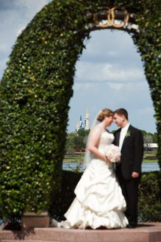 view from behind the wedding pavilion with #CinderellaCastle in the background from our wedding in March @Disney Weddings  photo by Root Photography