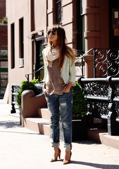 Tank: Lovers & Friends // Jeans: Zara // Sequin jacket: Thrifted // Heels: Madewell // Scarf: Zara // Shades: Ray Bans