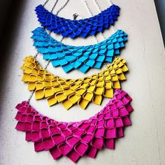 Origami Collection  Turquoise Suede Origami Necklace by HaKNiK, $85.00