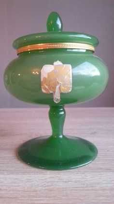 Green French Mounted Opaline Glass- Pedestal Jar / Apothecary Pot / Trinket Box