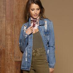 ead20c7e2 Calça Jeans, Feminino, Calça Jeans Rasgada, Musa