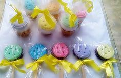 cupcake personalizado tema botão, pirulito de chocolate personalizado tema botão
