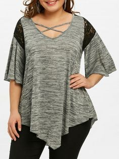 56b07c1625c19 Flare Sleeve Plus Size Asymmetrical Tunic T-shirt - GRAY 5XL Fashion Site