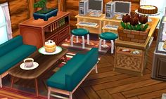 "yukimuracrossing: "" the brand new cafe on main street, serving homemade cakes and warm beverages from 7am daily ☆゚.*・。゚ """