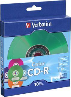 Verbatim - CD-R 700MB 52X with Color Branded Surface (10-pack) - Blue/Green/Purple/Orange/Pink, 98939