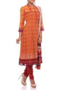 Shop Orange Georgette Kalidar Suit Set online at Biba.in - SKD#4136ORG