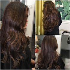 My client loves a rich chocolate brown with warm golden highlights.  1. Highlights 7 vol flash lift in back 10 vol in front 1/8 oz of Olaplex in each bowl 2. Rinse towel dry 3.  Gloss 7aa 7g 7c 7nb shades EQ 1 min  4. Rinse 5. #Olaplex number 2 20min Clear 20 minutes every 3 weeks to keep it shiny.  @christyprais is one one my favorites because she knows exactly what she wants, makes my job easy :)