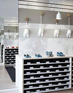 Habbot shoe store by Mim Design Retail Interior Design, Australian Interior Design, Commercial Interior Design, Commercial Interiors, Shoe Store Design, Shoe Shop, Mim Design, Retail Signage, Displays