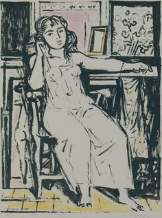 Yannis Moralis- Sitting Girl, 1955 Sitting Girl, Ecole Art, Artist Sketchbook, Figure Painting, Great Artists, Art Reference, Sculpting, Contemporary Art, Greece