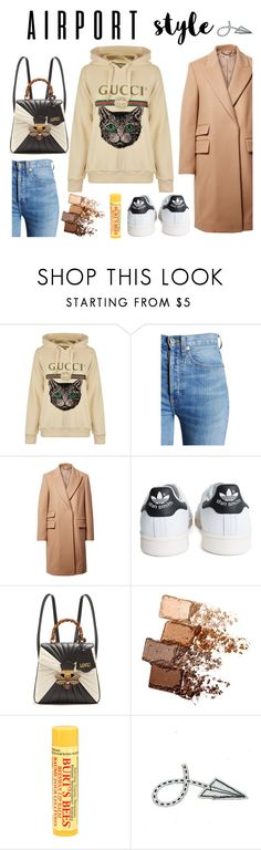 """Heavenly voyager"" by balbadry ❤ liked on Polyvore featuring Gucci, RE/DONE, STELLA McCARTNEY, adidas, Maybelline, Burt's Bees and Hoodies"