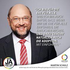 #QuoteOfTheDay  Seit Tagen ist die SPD mit der Forderung nach Öffnung der Ehe für homosexuelle Paare in den Medien  jetzt hat sich erstmals ihr designierter Kanzlerkandidat @martinschulzspd geäußert. #EnoughisEnough #StopHomophobia #EheFürAlle #MeinJAhabtihr #LGBTI #Community #Gesellschaft #SPD #Wahlkampf2017 #BTW2017 #Instagay #DeineStimmeZählt