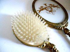 Vintage Vanity Set Hairbrush Comb Mirror Ormolou Rococo Signed