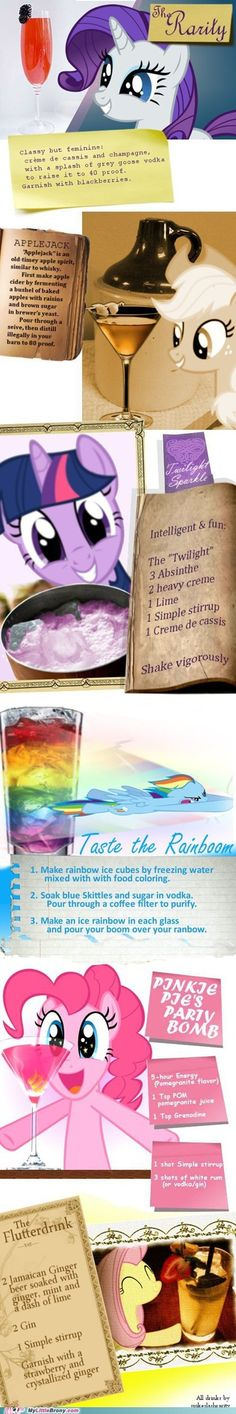 my little pony, friendship is magic, brony - Mane Six Ponytails Party Drinks, Cocktail Drinks, Fun Drinks, Yummy Drinks, Alcoholic Drinks, Colorful Drinks, Mlp, Fluttershy, Disney Cocktails