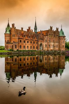 Egeskov Castle, Denmark | Egeskov Castle is located in the south of the island of Funen, Denmark. The castle is Europe's best preserved Renaissance water castle.