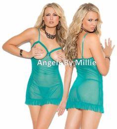 Cupless Babydoll Lingerie Set Women Plus Jade Green Open Bust Panty Sexy Nightie #ElegantMoments #BabydollChemise #Everyday
