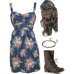 Floral and Combat, created by katie-betters on Polyvore