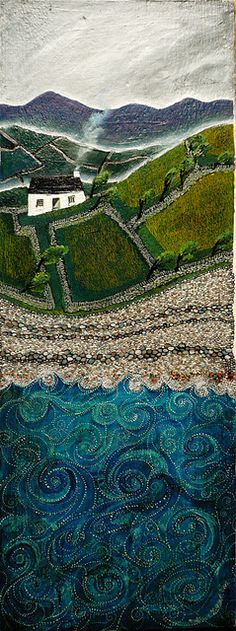 Turn my photos into art quilt 🌀. Valeriane Leblond - landscape - this is actually oil on wood - but it looks textured like a hooked rug Naive Art, Felt Art, Rug Hooking, Landscape Art, Watercolor Landscape, Landscape Paintings, Fabric Art, Graphic, Textile Art