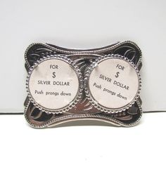 Belt Buckle that can hold 2 silver dollars - Vintage Accessories - Collectible Belt Buckle by VINTAGEandMOREshop on Etsy https://www.etsy.com/listing/212047962/belt-buckle-that-can-hold-2-silver