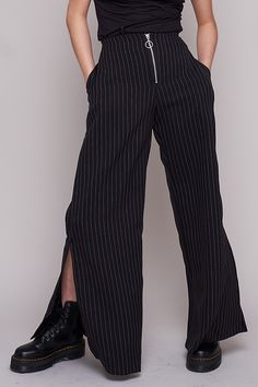 016448f2 Wide leg pinstripe trouser, with slit leg and ring pull zipper.