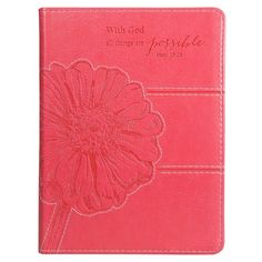 With God All Things Are Possible Pink Floral Journal (2013, Flexcover) #ChristianArtGifts